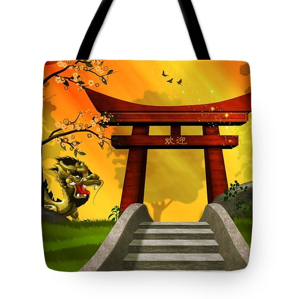 Asian Art Chinese Dragon  Tote Bag