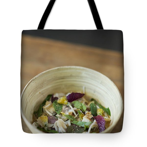 Asian Fish And Herb With Bean Sprout Soup Tote Bag