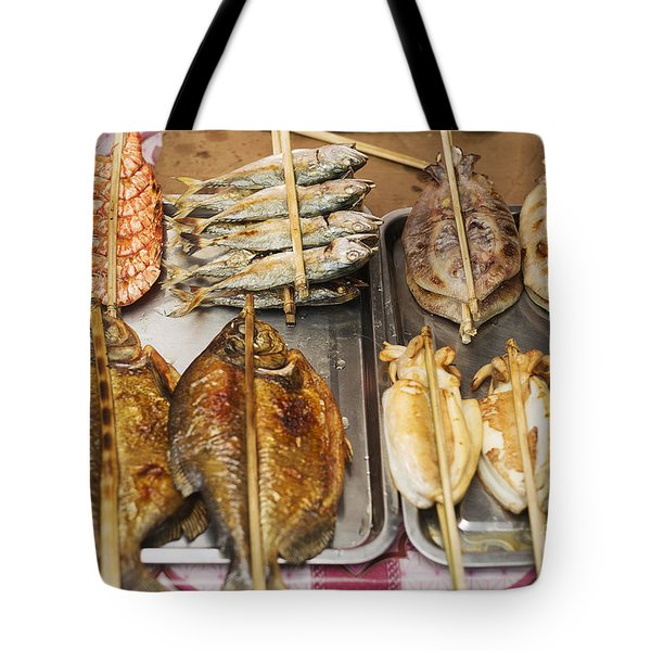 Asian Grilled Barbecued Seafood In Kep Market Cambodia Tote Bag