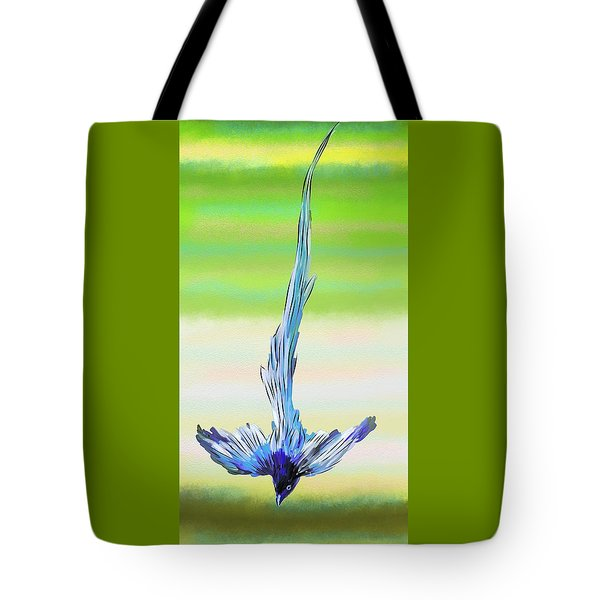 Tote Bag featuring the digital art Asian Paradise Flycatcher by Iowan Stone-Flowers