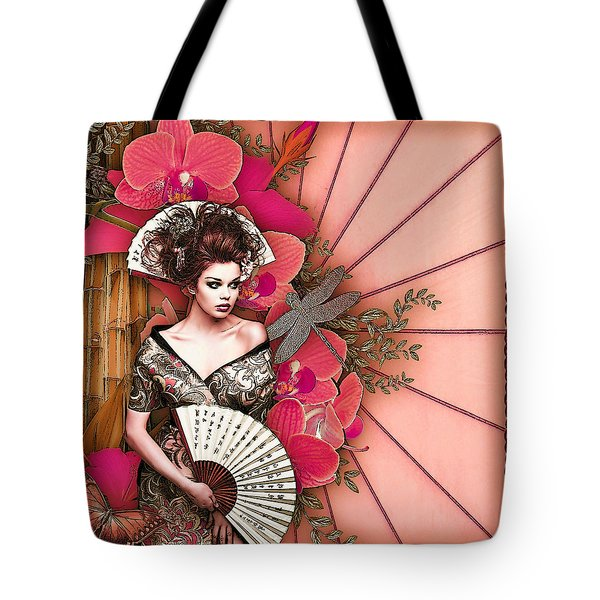 Tote Bag featuring the digital art Asian Tranquility  by Digital Art Cafe