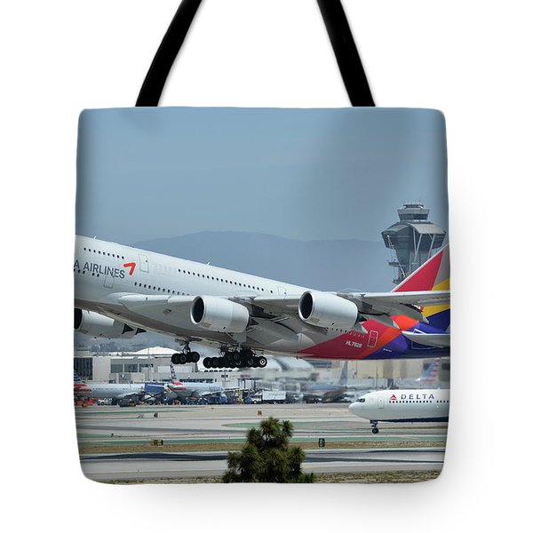 Tote Bag featuring the photograph Asiana Airbus A380-800 Hl7626 Los Angeles International Airport May 3 2016 by Brian Lockett