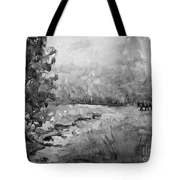 Aska Farm Horses In Bw Tote Bag by Gretchen Allen