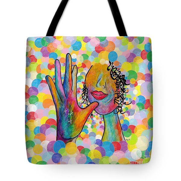 Asl Mother On A Bright Bubble Background Tote Bag