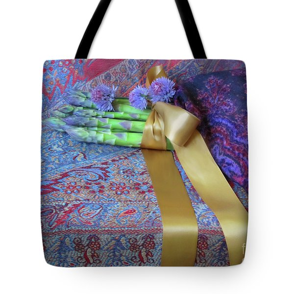 Tote Bag featuring the photograph Asparagus And Cornflowers, Garden Blessings by Nancy Lee Moran