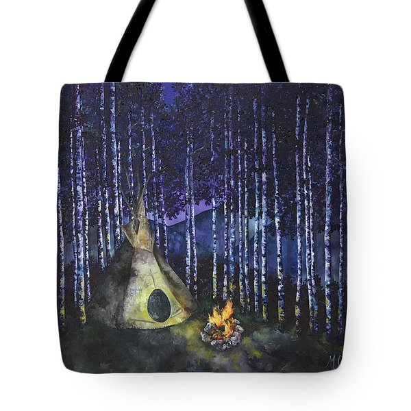 Tote Bag featuring the painting Aspen Camp by Melinda Cummings