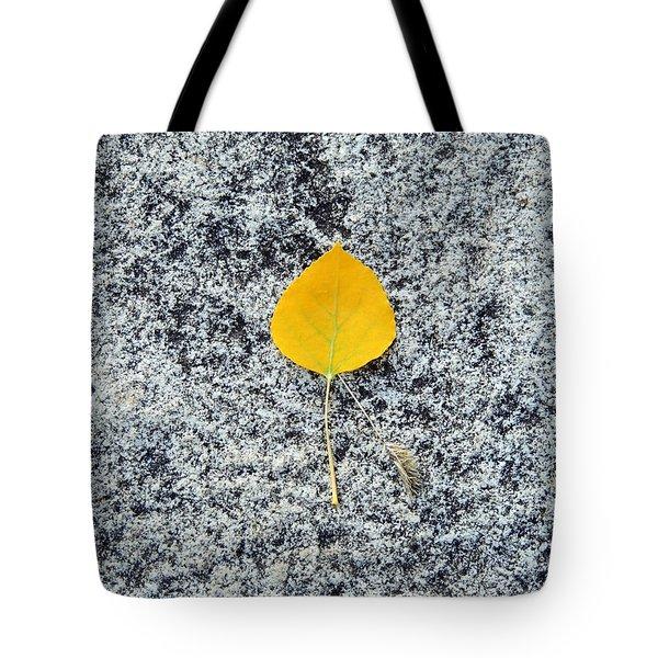 Aspen Leaf On Stone Tote Bag