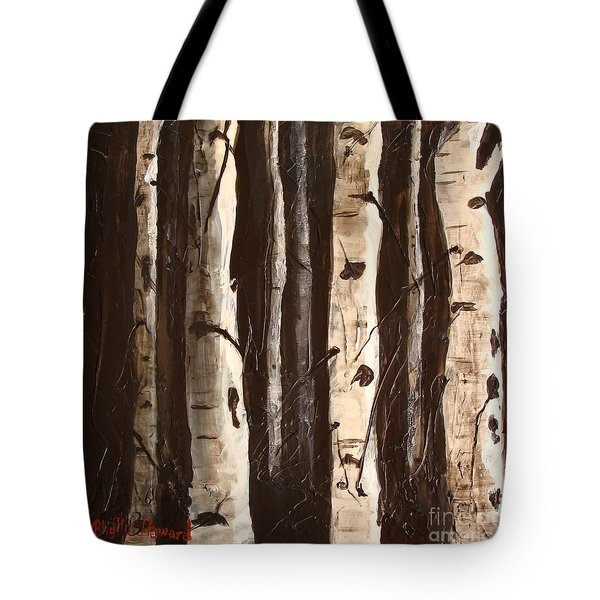 Tote Bag featuring the painting Aspen Stand by Phyllis Howard