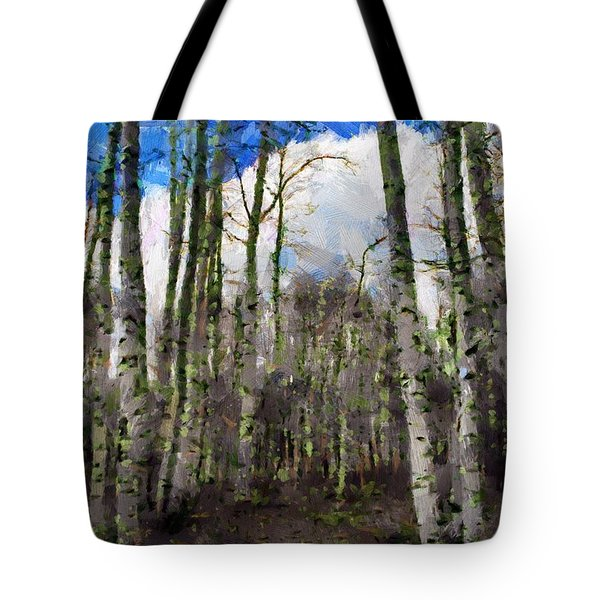 Tote Bag featuring the painting Aspen Standing by Jeffrey Kolker