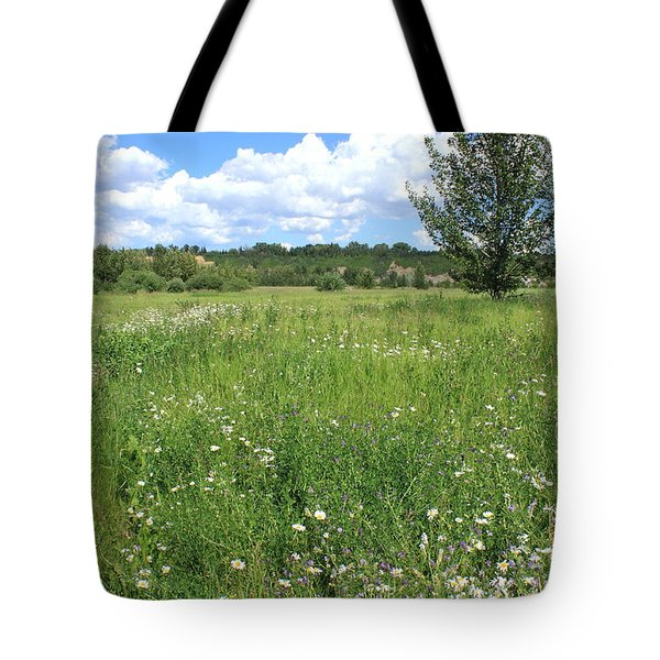 Aspen Tree In Meadow With Wild Flowers Tote Bag by Jim Sauchyn