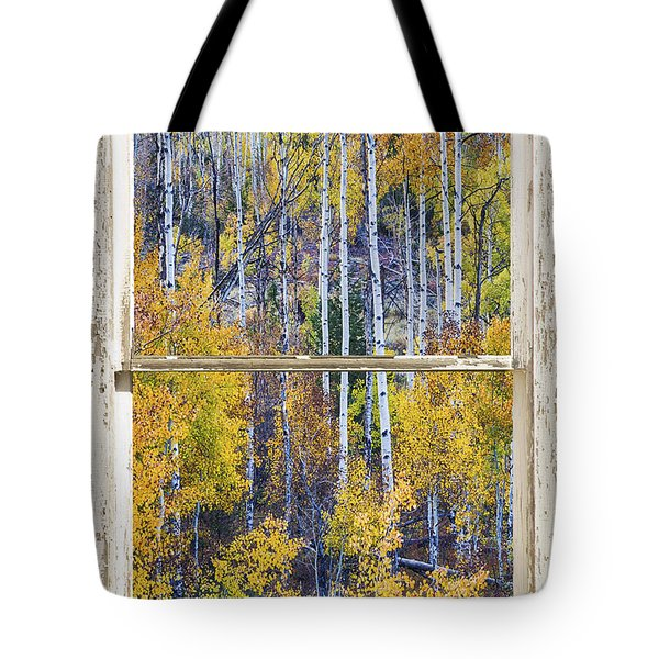 Aspen Tree Magic Cottonwood Pass White Farm House Window Art Tote Bag