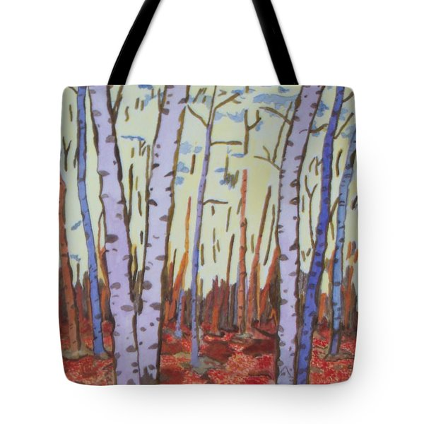 Tote Bag featuring the painting Aspen Trees by Connie Valasco