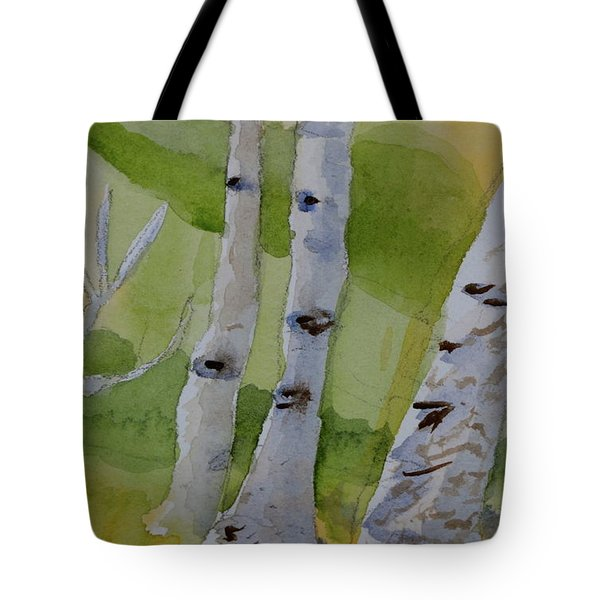 Tote Bag featuring the painting Aspen Trunks by Beverley Harper Tinsley