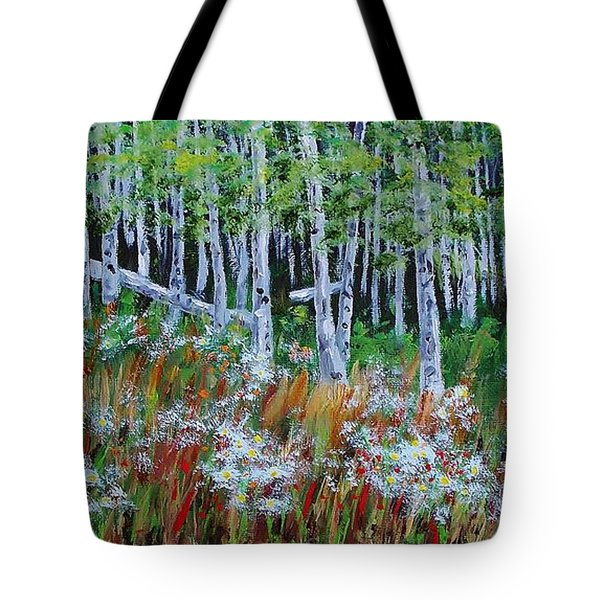 Aspens And Wildflowers Tote Bag