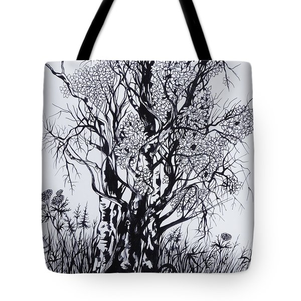 Tote Bag featuring the drawing Aspens by Anna  Duyunova