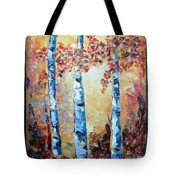 Tote Bag featuring the painting Aspens In Glow by Phyllis Howard