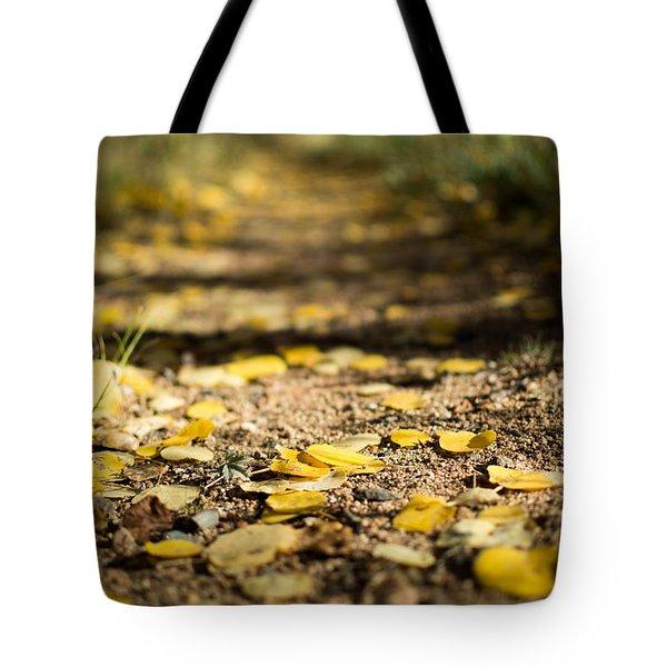 Aspen Leaves On Trail Tote Bag