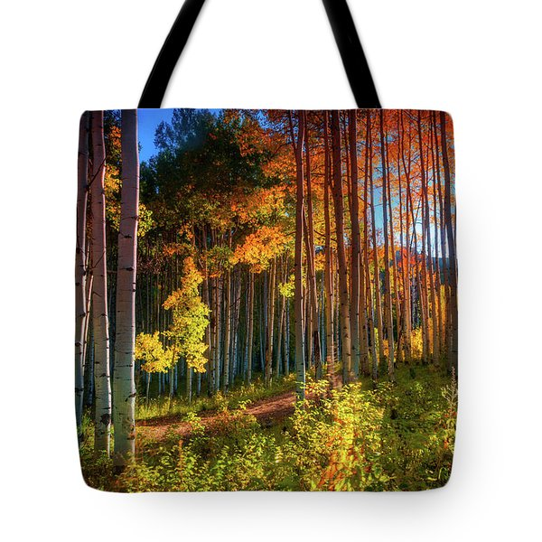 Tote Bag featuring the photograph Aspens Of The West Elk Mountains by John De Bord