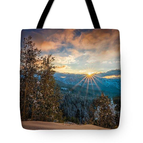 Aspens Sunset After Snowfall Tote Bag