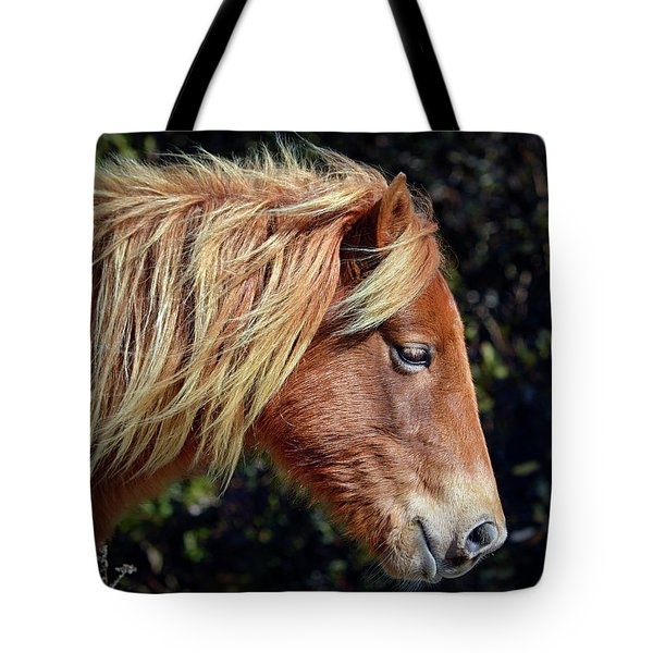Tote Bag featuring the photograph Assateague Horse Sarah's Sweet Tea Right Profile by Assateague Pony Photography