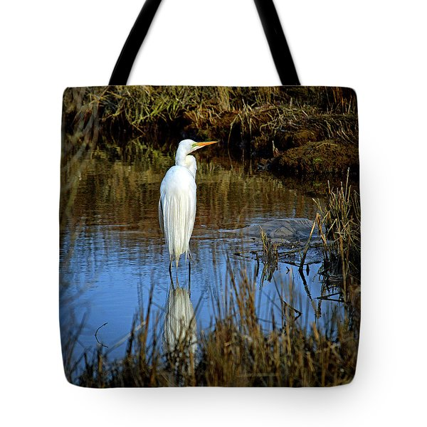 Tote Bag featuring the photograph Assateague Island Great Egret Ardea Alba by Assateague Pony Photography