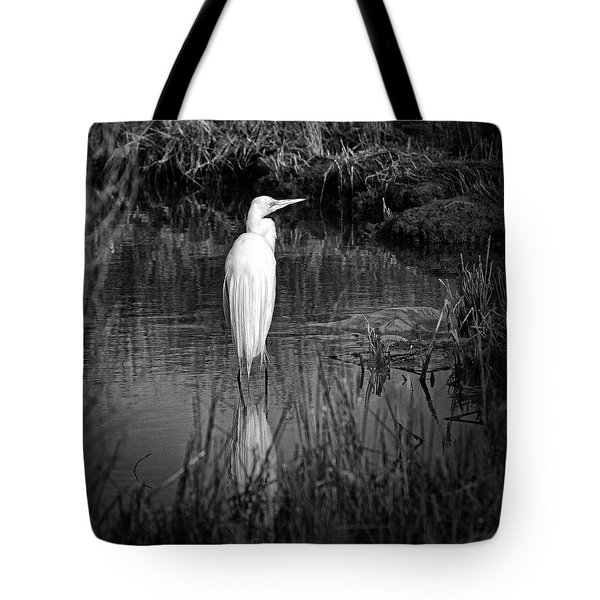 Tote Bag featuring the photograph Assateague Island Great Egret Ardea Alba In Black And White by Assateague Pony Photography