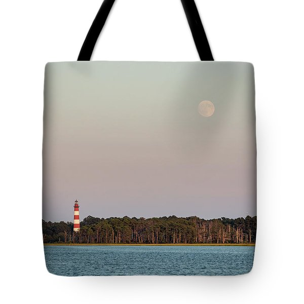 Assateague Light And The Full Moon Tote Bag