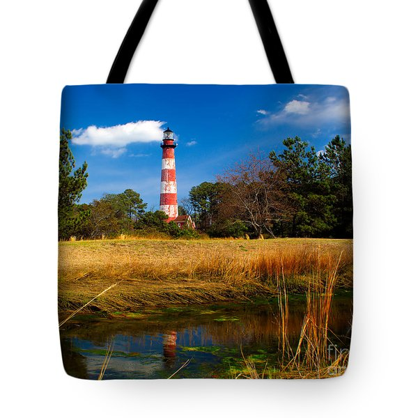 Assateague Lighthouse Reflection Tote Bag by Nick Zelinsky