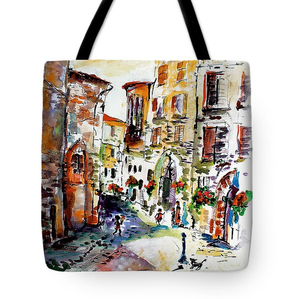 Assisi Italy Old Town Watercolor Tote Bag
