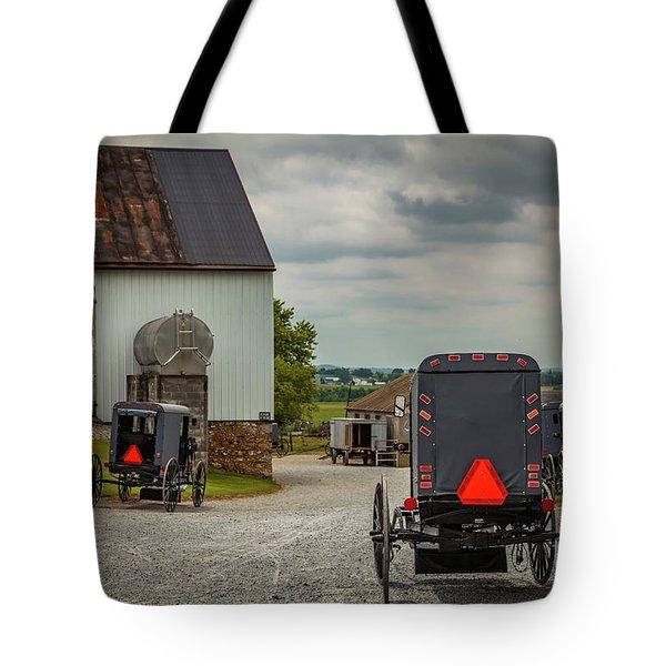 Assorted Amish Buggies At Barn Tote Bag