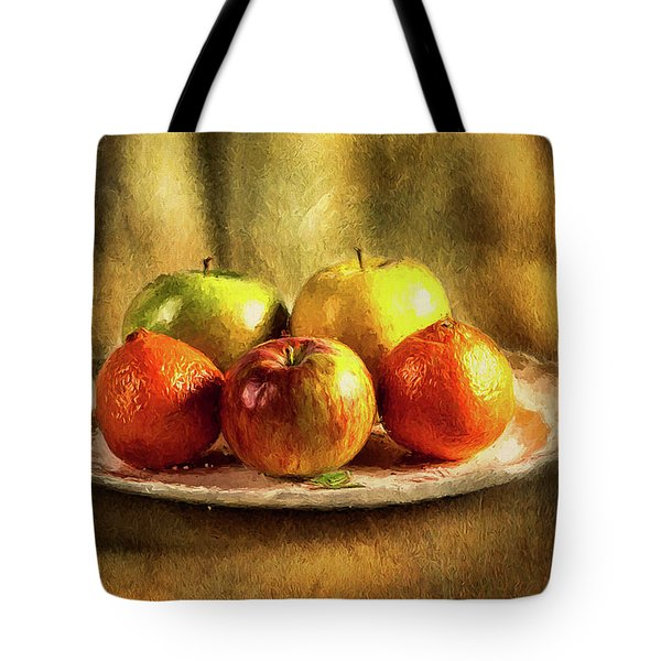 Assorted Fruits In A Plate Tote Bag
