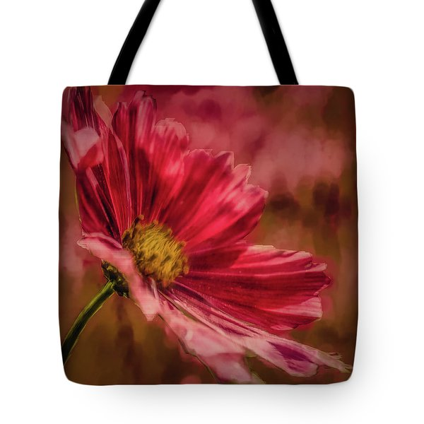 Tote Bag featuring the digital art Aster Red Painterly #h1 by Leif Sohlman
