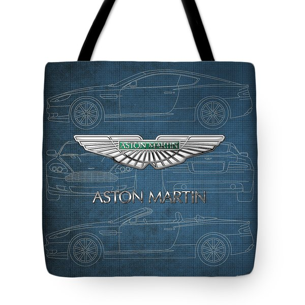 Aston Martin 3 D Badge Over Aston Martin D B 9 Blueprint Tote Bag
