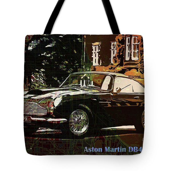 Aston Martin Db4 Gt 1960 On Old Chicago Map Tote Bag