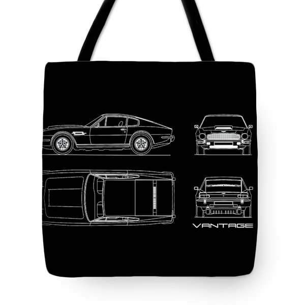 Aston Martin V8 Vantage Blueprint Tote Bag