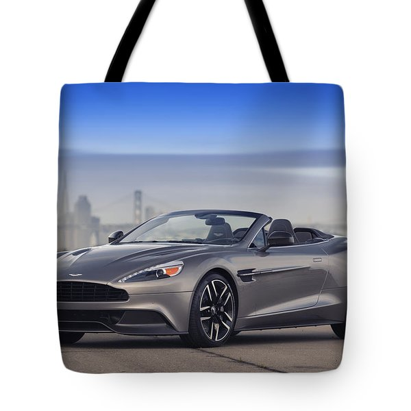 Tote Bag featuring the photograph Aston Vanquish Convertible by ItzKirb Photography