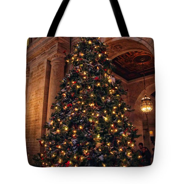Tote Bag featuring the photograph Astor Hall Christmas by Jessica Jenney