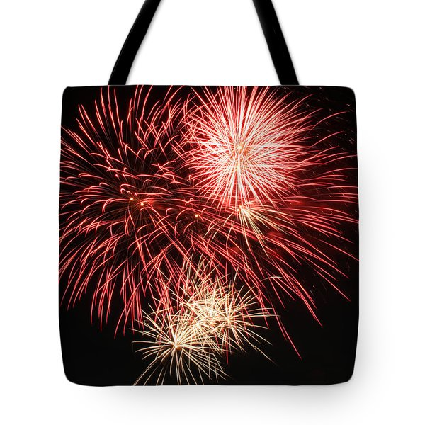 Tote Bag featuring the photograph Astoria Park Fireworks 10 by Jim Poulos