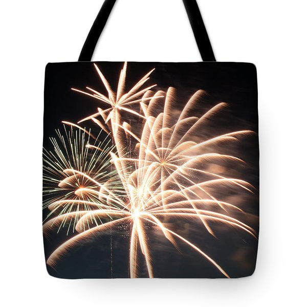Tote Bag featuring the photograph Astoria Park Fireworks 2 by Jim Poulos