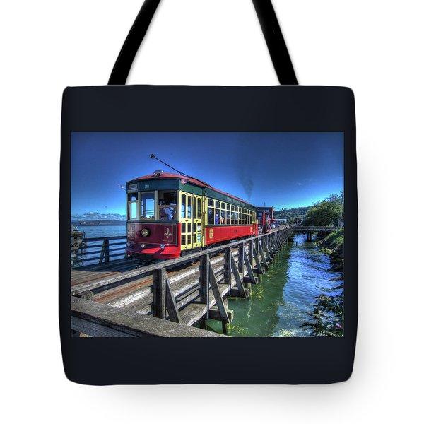 Astoria Riverfront Trolley Tote Bag
