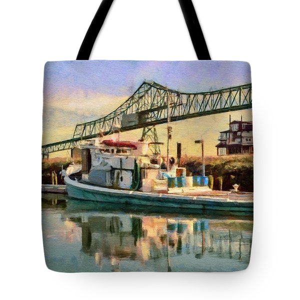 Tote Bag featuring the painting Astoria Waterfront, Scene 1 by Jeff Kolker