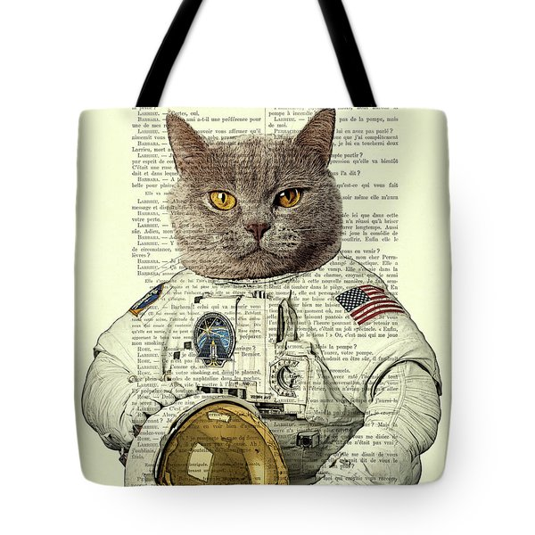 Astronaut Cat Illustration Tote Bag