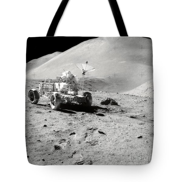 Astronaut Works At The Lunar Roving Tote Bag by Stocktrek Images