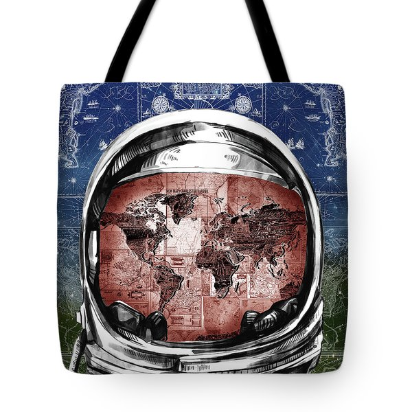 Astronaut World Map 3 Tote Bag