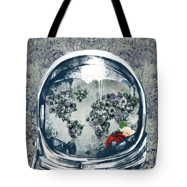 Astronaut World Map 5 Tote Bag by Bekim Art