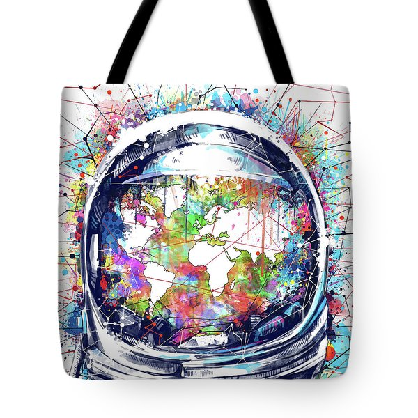 Astronaut World Map 6 Tote Bag