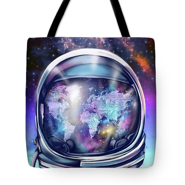 Astronaut World Map 9 Tote Bag