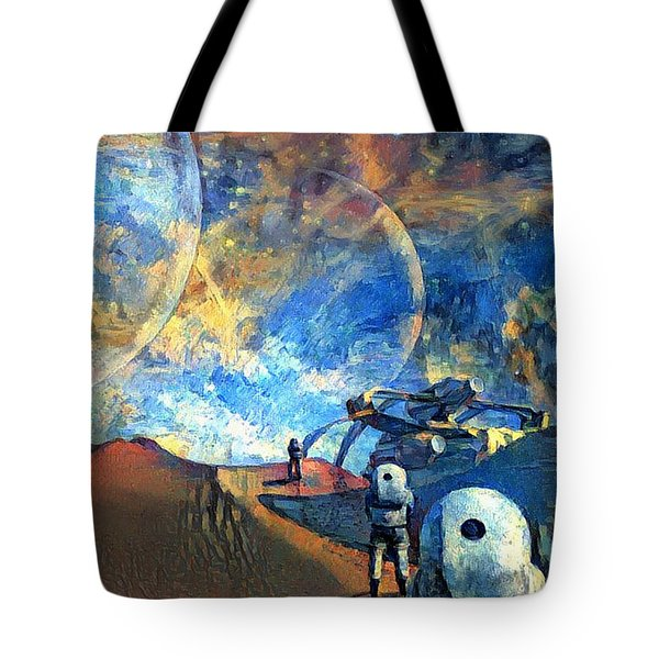 Astronauts On A Red Planet Tote Bag
