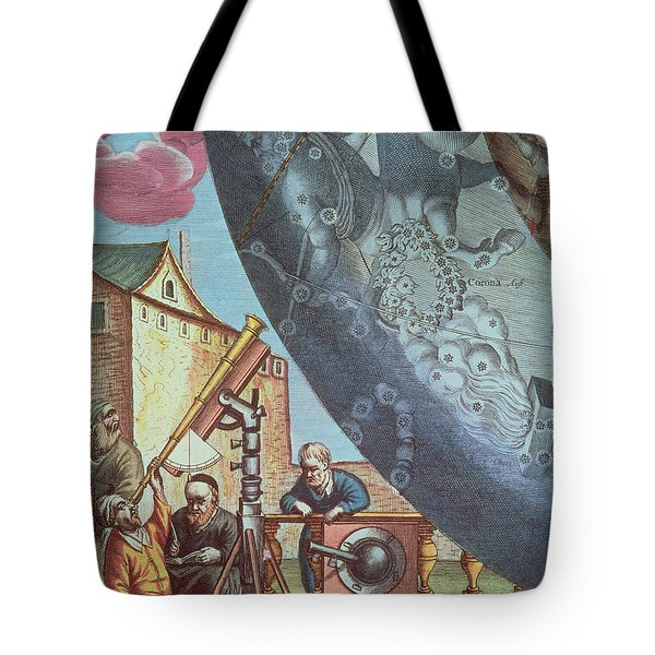 Astronomers Looking Through A Telescope Tote Bag by Andreas Cellarius