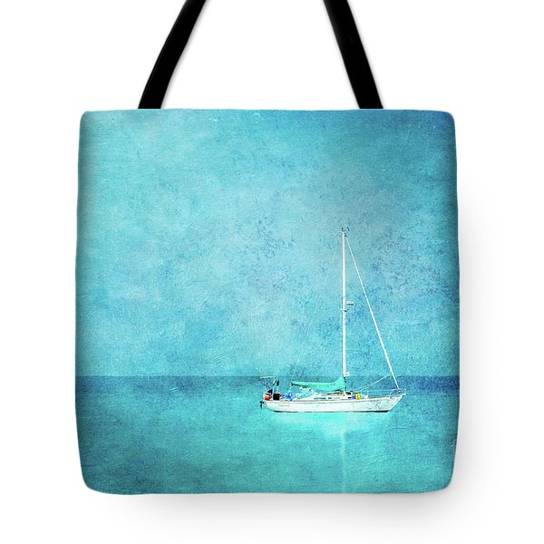 Tote Bag featuring the mixed media At Anchor by Betty LaRue